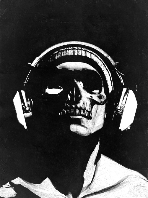 "The NeverMindTheBuzzkills logo from the start: ""Skull and Headphones 2"" by Rhys ""hiddenmoves"" Owens. Used with permission. Click the image for more of the artist's work."